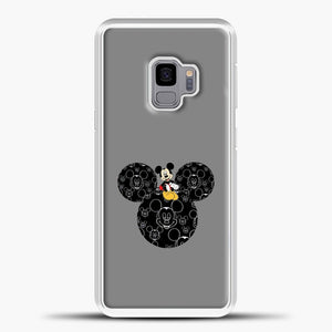 Mickey Mouse And Face Grey Background Samsung Galaxy S9 Case, White Plastic Case | casedilegna.com