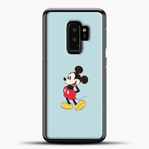 Mickey Mouse Blue Background Samsung Galaxy S9 Plus Case, Black Plastic Case | casedilegna.com