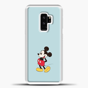 Mickey Mouse Blue Background Samsung Galaxy S9 Plus Case, White Plastic Case | casedilegna.com