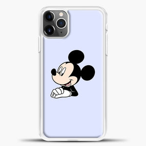 Mickey Mouse Cute Blue Backgroud iPhone 11 Pro Max Case, White Plastic Case | casedilegna.com
