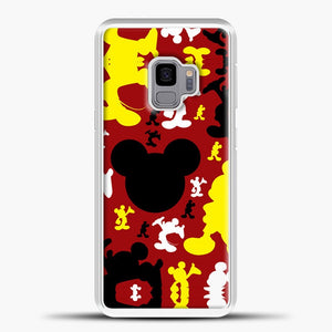 Mickey Mouse Cute Red Background Samsung Galaxy S9 Case, White Plastic Case | casedilegna.com