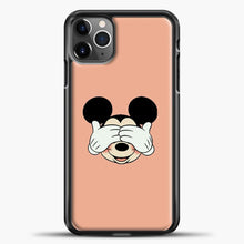 Load image into Gallery viewer, Mickey Mouse Face Peach Background iPhone 11 Pro Max Case, Black Plastic Case | casedilegna.com