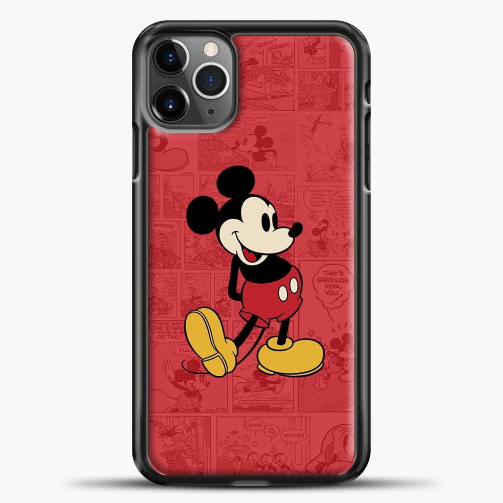 Mickey Mouse Newspaper Background iPhone 11 Pro Max Case, Black Plastic Case | casedilegna.com