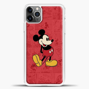 Mickey Mouse Newspaper Background iPhone 11 Pro Max Case, White Plastic Case | casedilegna.com