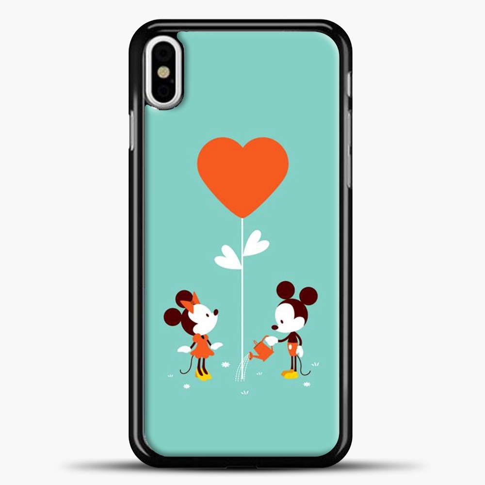 Mickey Mouse Orange Heart Rose iPhone X Case, Black Plastic Case | casedilegna.com