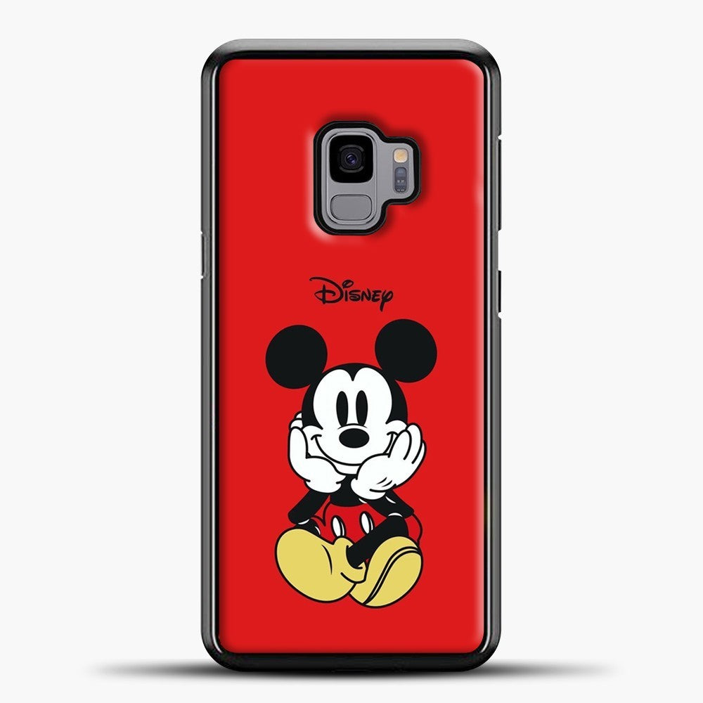 Mickey Mouse Sit Red Background Samsung Galaxy S9 Case, Black Plastic Case | casedilegna.com