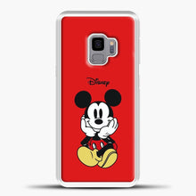Load image into Gallery viewer, Mickey Mouse Sit Red Background Samsung Galaxy S9 Case, White Plastic Case | casedilegna.com