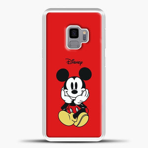 Mickey Mouse Sit Red Background Samsung Galaxy S9 Case, White Plastic Case | casedilegna.com