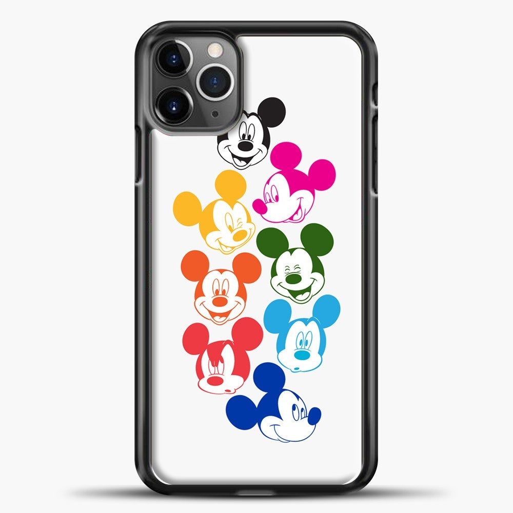 Mickey Mouse Some Colorful Face iPhone 11 Pro Max Case, Black Plastic Case | casedilegna.com