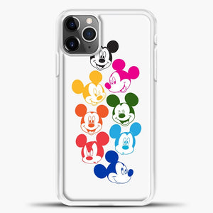 Mickey Mouse Some Colorful Face iPhone 11 Pro Max Case, White Plastic Case | casedilegna.com