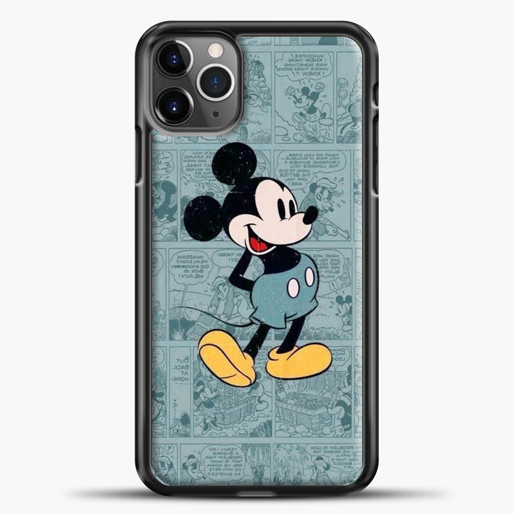 Mickey Mouse Vintage Blue Newspaper iPhone 11 Pro Max Case, Black Plastic Case | casedilegna.com