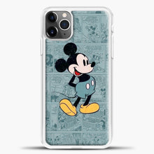 Load image into Gallery viewer, Mickey Mouse Vintage Blue Newspaper iPhone 11 Pro Max Case, White Plastic Case | casedilegna.com