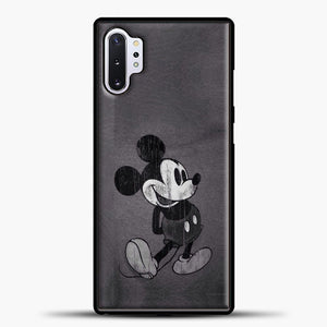 Mickey Mouse Vintage Grey Background Samsung Galaxy Note 10 Plus Case, Black Plastic Case | casedilegna.com