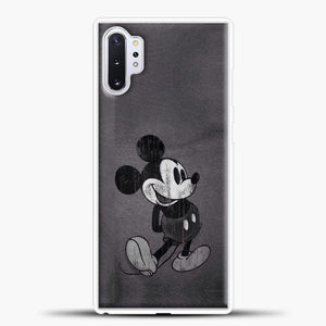 Mickey Mouse Vintage Grey Background Samsung Galaxy Note 10 Plus Case, White Plastic Case | casedilegna.com