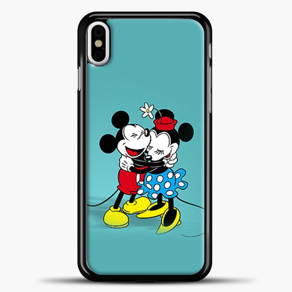 Mickey Mouse Vintage Hugging iPhone X Case, Black Plastic Case | casedilegna.com