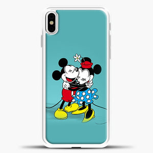 Mickey Mouse Vintage Hugging iPhone X Case, White Plastic Case | casedilegna.com