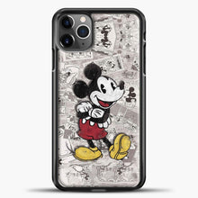 Load image into Gallery viewer, Mickey Mouse Vintage Many Magazines iPhone 11 Pro Max Case, Black Plastic Case | casedilegna.com