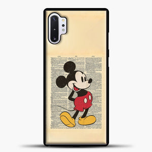 Mickey Mouse Vintage Newspaper Background Samsung Galaxy Note 10 Plus Case, Black Plastic Case | casedilegna.com