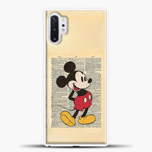 Load image into Gallery viewer, Mickey Mouse Vintage Newspaper Background Samsung Galaxy Note 10 Plus Case, White Plastic Case | casedilegna.com