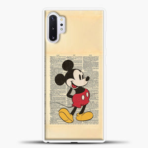 Mickey Mouse Vintage Newspaper Background Samsung Galaxy Note 10 Plus Case, White Plastic Case | casedilegna.com
