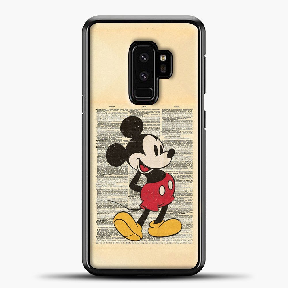 Mickey Mouse Vintage Newspaper Background Samsung Galaxy S9 Plus Case, Black Plastic Case | casedilegna.com