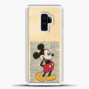 Mickey Mouse Vintage Newspaper Background Samsung Galaxy S9 Plus Case, White Plastic Case | casedilegna.com