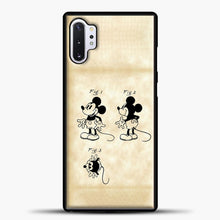 Load image into Gallery viewer, Mickey Mouse Vintage Paper Background Samsung Galaxy Note 10 Plus Case, Black Plastic Case | casedilegna.com