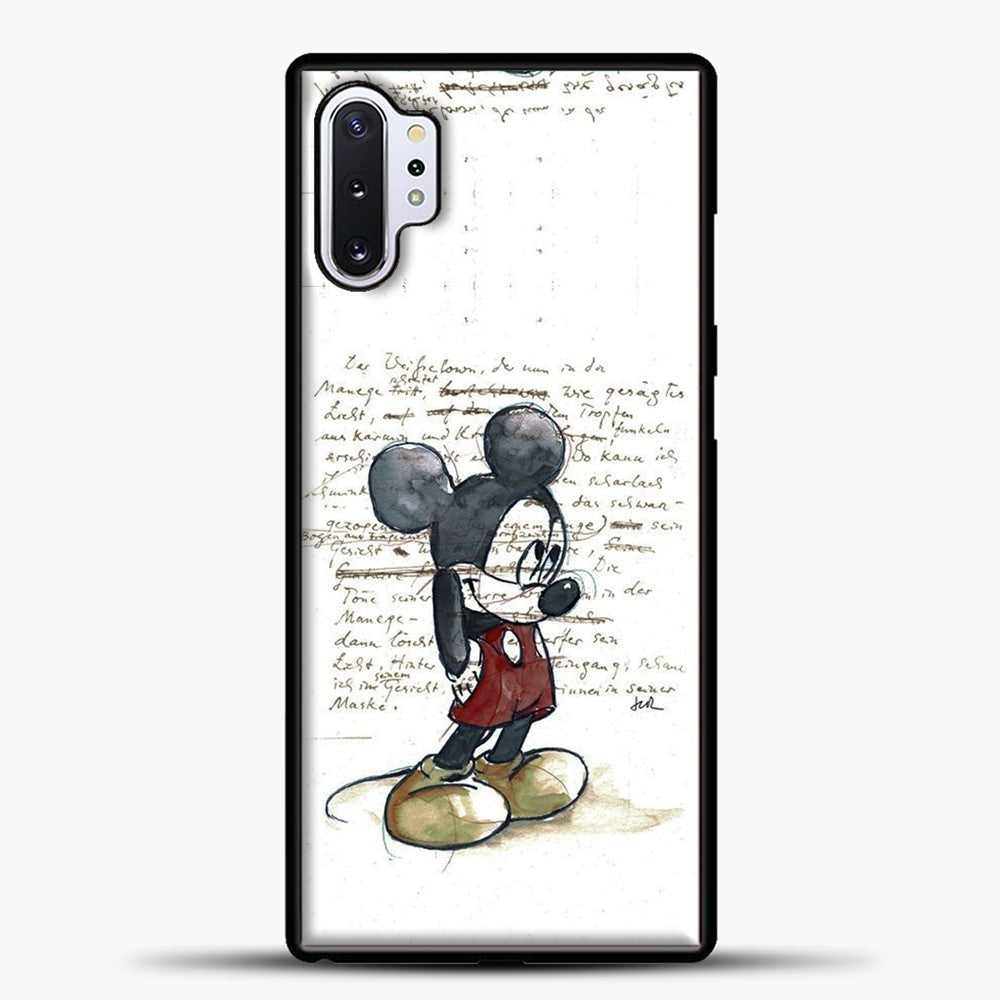 Mickey Mouse Vintage Quotes White Bcakground Samsung Galaxy Note 10 Plus Case, Black Plastic Case | casedilegna.com