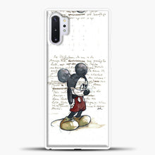 Load image into Gallery viewer, Mickey Mouse Vintage Quotes White Bcakground Samsung Galaxy Note 10 Plus Case, White Plastic Case | casedilegna.com