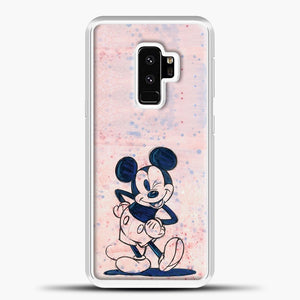 Mickey Mouse Vintage Splash Background Samsung Galaxy S9 Plus Case, White Plastic Case | casedilegna.com
