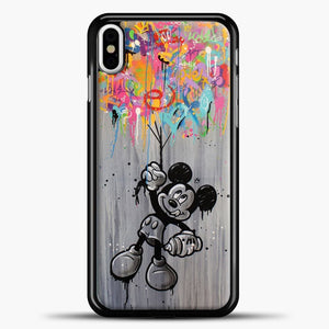 Mickey Mouse Vintage Splash Ballon iPhone X Case, Black Plastic Case | casedilegna.com