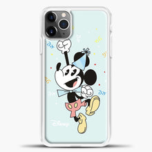 Load image into Gallery viewer, Mickey Mouse Vintage To Wear Hat Birthday iPhone 11 Pro Max Case, White Plastic Case | casedilegna.com