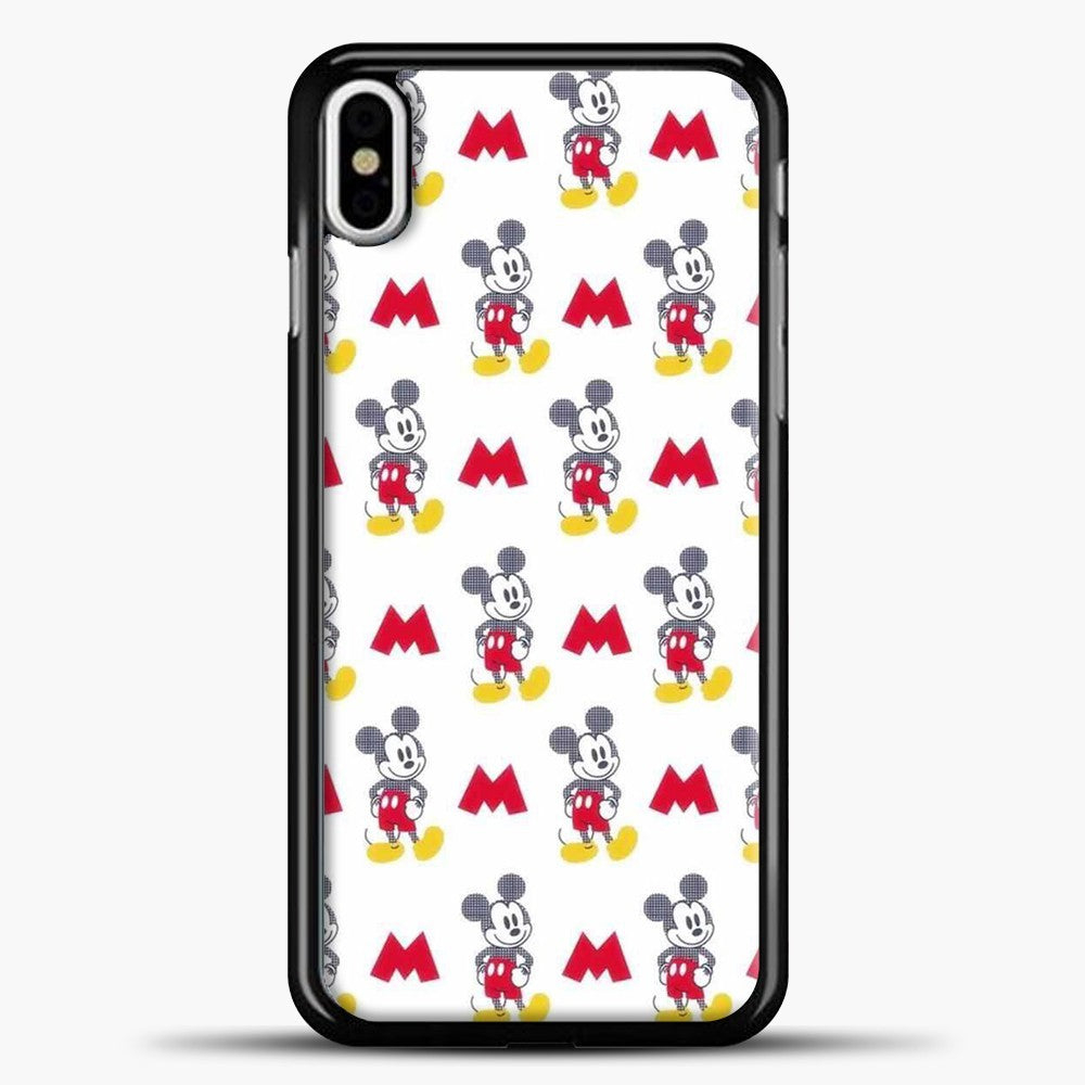 Mickey Mouse Vintage White Background iPhone X Case, Black Plastic Case | casedilegna.com