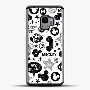 Mickey Mouse Vintage White Wallpaper Samsung Galaxy S9 Case, Black Plastic Case | casedilegna.com