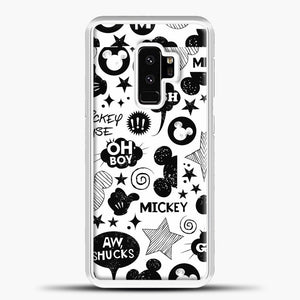 Mickey Mouse Vintage White Wallpaper Samsung Galaxy S9 Plus Case, White Plastic Case | casedilegna.com