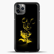 Load image into Gallery viewer, Mickey Mouse Yellow Sketch iPhone 11 Pro Max Case, Black Plastic Case | casedilegna.com