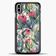Load image into Gallery viewer, Painted Protea Pattern iPhone Case, Black Plastic Case | casedilegna.com
