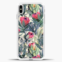 Load image into Gallery viewer, Painted Protea Pattern iPhone Case, White Plastic Case | casedilegna.com