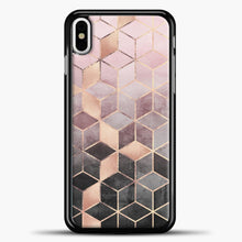 Load image into Gallery viewer, Pink And Grey Gradient Cubes iPhone Case, Black Plastic Case | casedilegna.com