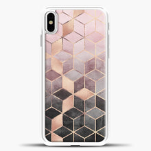 Load image into Gallery viewer, Pink And Grey Gradient Cubes iPhone Case, White Plastic Case | casedilegna.com