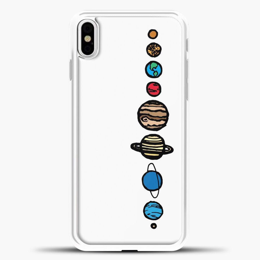 Planets Colour iPhone Case, White Plastic Case | casedilegna.com