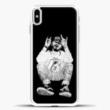 Load image into Gallery viewer, Post Malone Black Wallpaper iPhone X Case, White Plastic Case | casedilegna.com