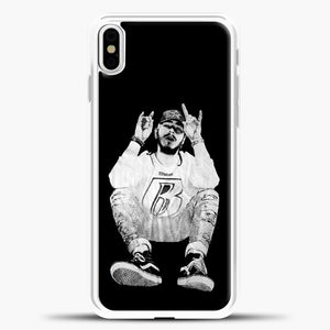 Post Malone Black Wallpaper iPhone X Case, White Plastic Case | casedilegna.com