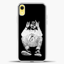 Load image into Gallery viewer, Post Malone Black Wallpaper iPhone XR Case, White Plastic Case | casedilegna.com