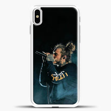 Load image into Gallery viewer, Post Malone Blue Smoke iPhone X Case, White Plastic Case | casedilegna.com