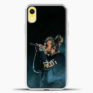 Post Malone Blue Smoke iPhone XR Case, White Plastic Case | casedilegna.com