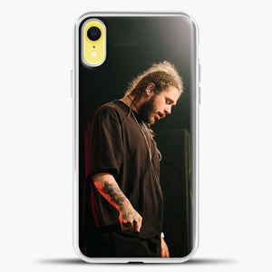 Post Malone Doing Perfomance iPhone XR Case, White Plastic Case | casedilegna.com