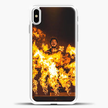 Load image into Gallery viewer, Post Malone Fire iPhone X Case, White Plastic Case | casedilegna.com
