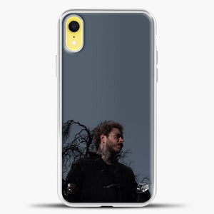 Post Malone Grey Background iPhone XR Case, White Plastic Case | casedilegna.com