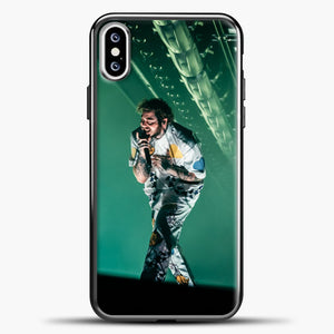 Post Malone Perfomance Blue Smoke iPhone XS Case, Black Plastic Case | casedilegna.com